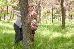 Happy family and child in summer park. People hiding and playing behind a tree. Beautiful landscape with trees and green grass Stock Photo