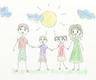 Happy family - children drawing Stock Photos