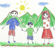 Happy family - children drawing Royalty Free Stock Image