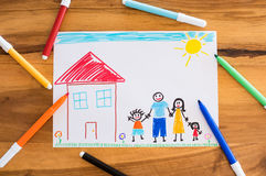 Happy family with children drawing stock photo