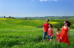 Happy family with children having fun outdoors on holiday Stock Images