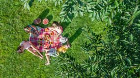 Happy family with children having picnic in park, parents with kids sitting on garden grass and eating healthy meals outdoors royalty free stock photography