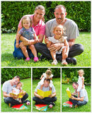 Happy family with children outdoors Royalty Free Stock Photos
