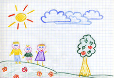 Happy family children's drawing Stock Photo