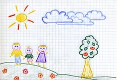 Happy family children's drawing. Happy Family in Happyland. Genuine Kid Art vector illustration