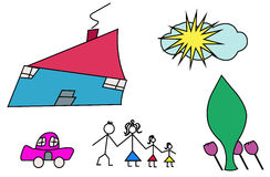 Happy family, children's drawing, Royalty Free Stock Image