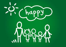 Happy family. Childrens drawing chalk on a blackboard showing a happy family - father, mother and three children Royalty Free Stock Image