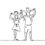 Happy family with children on shoulders Stock Photo