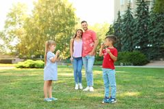 Happy family with children spending time together. In green park on sunny day stock photography