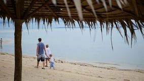 Happy family with children walks along the beach stock video