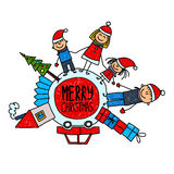 Happy family. Chirstmas time. Happy family Chirstmas family holidays Vector illustration Stock Photography