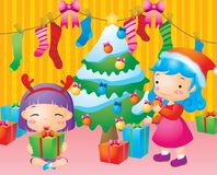 Happy family with christmas Stock Photos