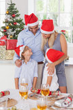 Happy family at christmas. By the dinner table Stock Photo