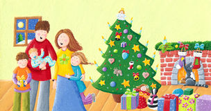 Happy family on Christmas. Acrylic illustration of happy family on Christmas Stock Photo