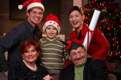 Happy family at christmas eve Stock Photo