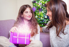 Happy family on Christmas eve stock image