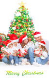 Happy family in Christmas eve royalty free stock image