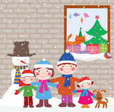 Happy family in Christmas eve royalty free illustration