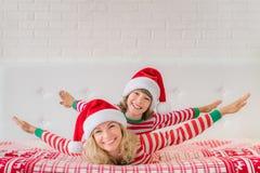 Happy family in Christmas eve Stock Photo