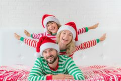 Happy family in Christmas eve Stock Photography