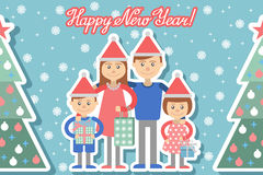 Happy family with Christmas gifts in hands. Royalty Free Stock Images