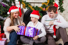 Happy family with Christmas gifts. Royalty Free Stock Photography