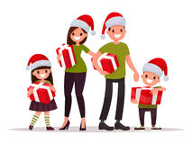 Happy family at Christmas with gifts. Vector illustration of a f Royalty Free Stock Photo