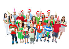 Happy Family Christmas Isolated on White Royalty Free Stock Images
