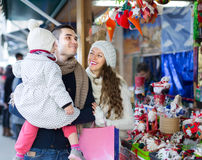 Happy family at Christmas market Stock Image