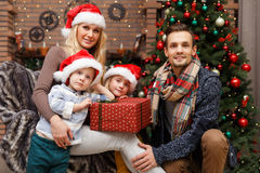 Happy family at Christmas pine Royalty Free Stock Image