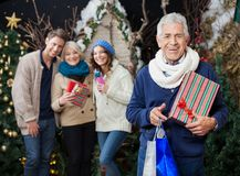 Happy Family With Christmas Presents And Shopping Royalty Free Stock Photography