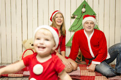 Happy family on Christmas Stock Photos
