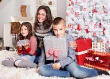 Happy family at Christmas Royalty Free Stock Image