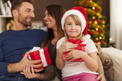 Happy family in Christmas time Royalty Free Stock Photos