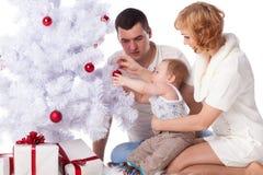 Happy family. Christmas tree. Royalty Free Stock Photo