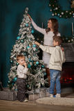 Happy family and Christmas tree. Royalty Free Stock Photography
