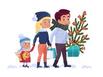 Happy family with Christmas tree and gifts royalty free illustration