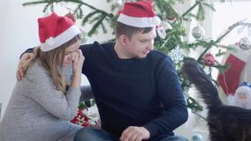 Happy young family in Santa cap. Husband hugs her pregnant wife near beautiful decorated Christmas tree and big Maice. Happy family by the Christmas tree stock video