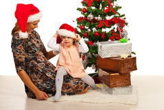 Happy family with Christmas tree Royalty Free Stock Photography