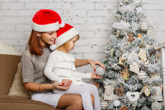 Happy family and Christmas tree. Royalty Free Stock Photos