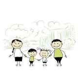 Happy family in the city. Sketch for your design Stock Images