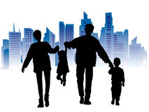 Happy family, cityscape. Happy family on a background of city, black silhouette Stock Photos