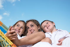 Happy family close up Stock Photos