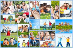 Happy family collage. Happy family collage background. People outdoors stock photos