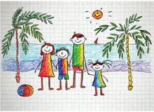 Happy family. Colorful summer picture. Kids drawing Royalty Free Stock Photography