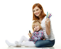 Happy family with colour pencils. Stock Image