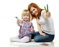 Happy family with colour pencils. Stock Photo