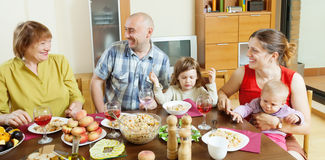 Happy  family communicate over holiday table Royalty Free Stock Photography