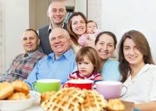 Happy  family communicate over tea Royalty Free Stock Photos