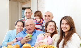 Happy family communicate over tea Royalty Free Stock Photography
